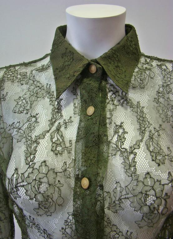 Istante By Gianni Versace Lace Sheer Shirt 4