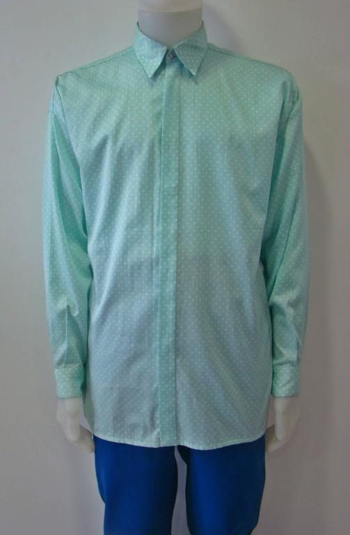 Blue Gianni Versace Polka Dot Shirt Spring 1994 For Sale