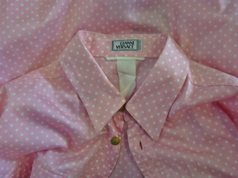 Men's Gianni Versace Polka Dot Shirt Punk Collection Spring 1994 For Sale