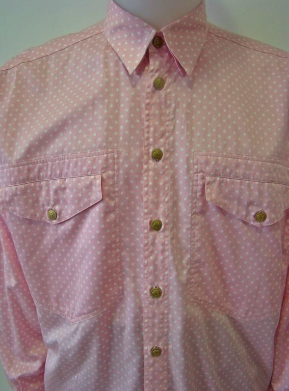 Brown Gianni Versace Polka Dot Shirt Punk Collection Spring 1994 For Sale