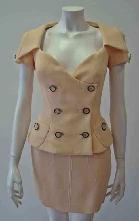 Gianni Versace Couture Double Breasted Jacket . 100%Wool, Fully Lined Inside With Satin Silk Fabric, Featuring A Very Open Decollete Carefully Made From Versace For Showing The Beauty Of The Feminine Body.