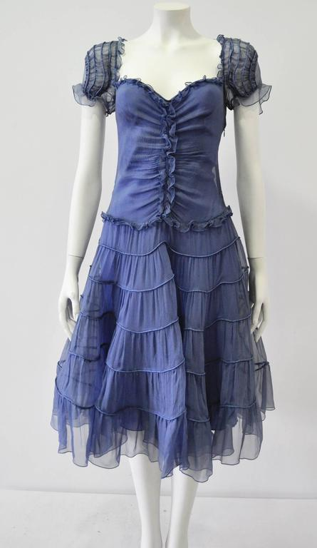 Blue Moschino Sheer Silk Chiffon Gypsy Dress 1990's For Sale