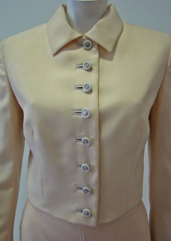 Brown Gianni Versace Couture Cool Wool Creme Short Jacket For Sale