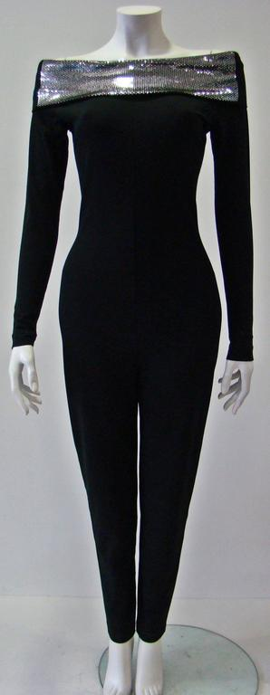 Very Rare Paco Rabanne Stretch Off Shoulder Jumpsuit 1970s