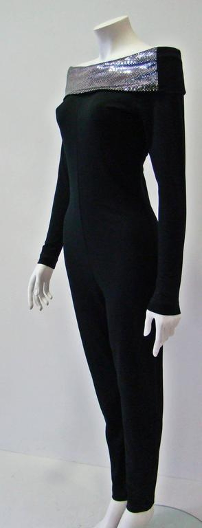 Very Rare Paco Rabanne Stretch Off Shoulder Jumpsuit 1970's In New Never_worn Condition For Sale In Athens, Agia Paraskevi
