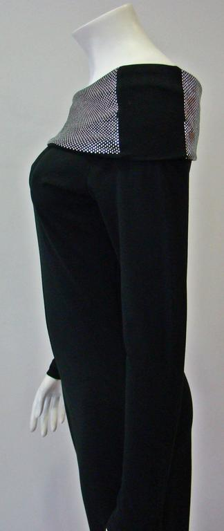 Women's Very Rare Paco Rabanne Stretch Off Shoulder Jumpsuit 1970's For Sale