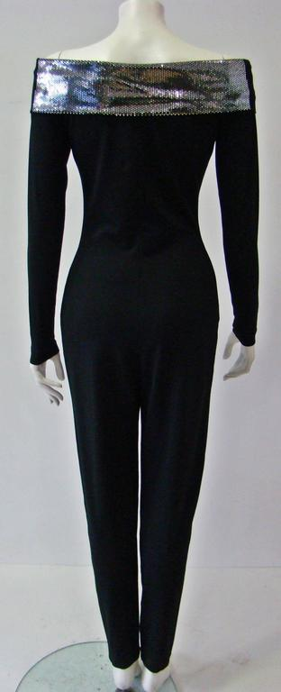 Very Rare Paco Rabanne Stretch Off Shoulder Jumpsuit 1970's For Sale 1
