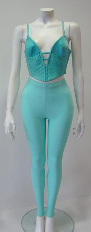 Gianni Versace Couture Turquoise Stretch Leggings 6