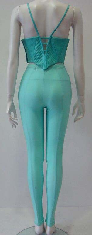 Gianni Versace Couture Turquoise Stretch Leggings 4
