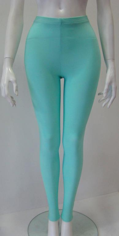 Gianni Versace Couture Turquoise Stretch Leggings 2