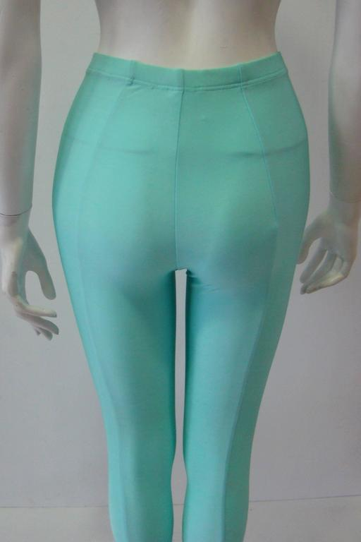 Gianni Versace Couture Turquoise Stretch Leggings 5