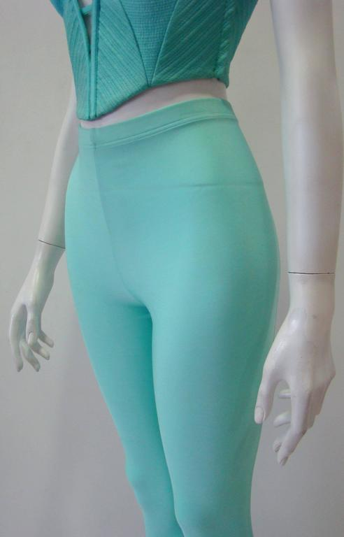 Gianni Versace Couture Turquoise Stretch Leggings 3