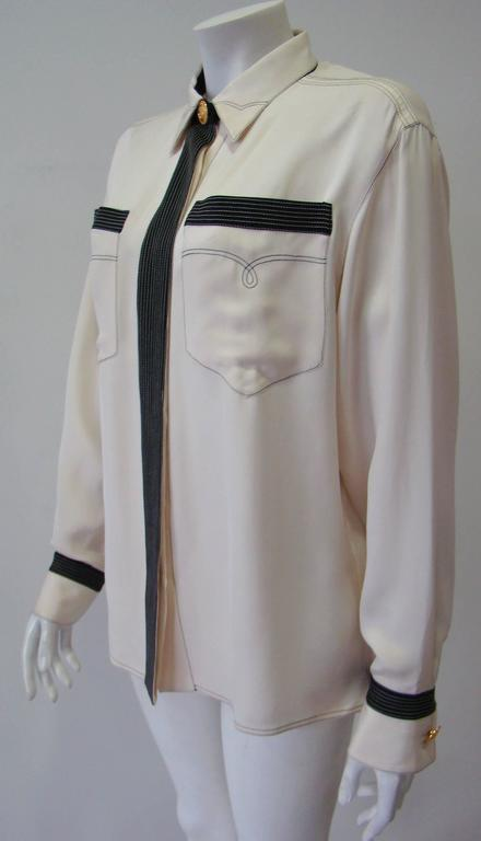Gianni Versace Couture Creme Silk Shirt 5