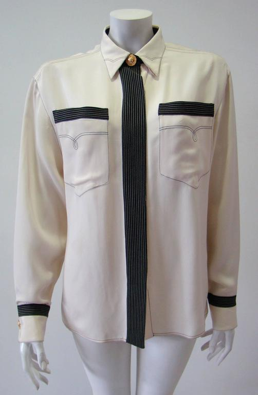 Gianni Versace Couture Creme Silk Shirt 2