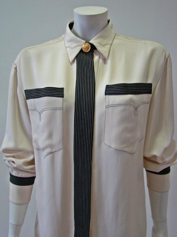 Gianni Versace Couture Creme Silk Shirt 3