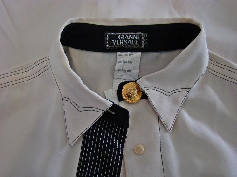 Gianni Versace Couture Creme Silk Shirt 7