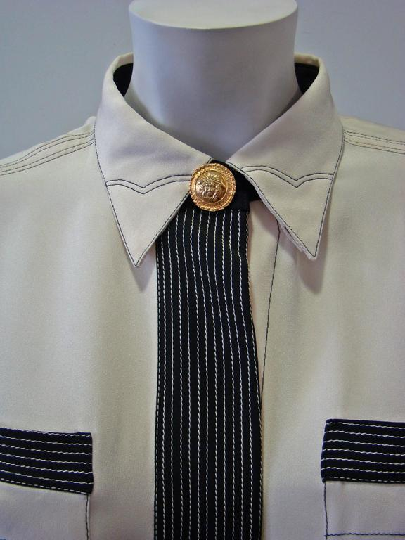 Gianni Versace Couture Creme Silk Shirt 4