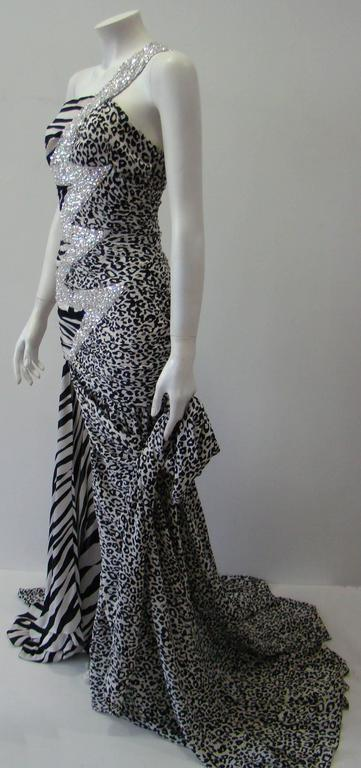 Pierre Balmain Leopard And Zebra Print Silk Evening Gown 5