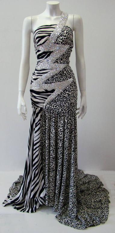 Pierre Balmain Leopard And Zebra Print Silk Evening Gown 2