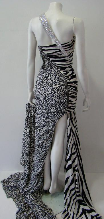 Pierre Balmain Leopard And Zebra Print Silk Evening Gown 6