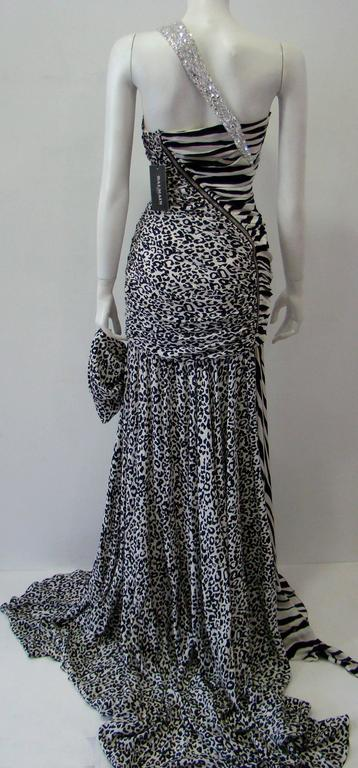 Pierre Balmain Leopard And Zebra Print Silk Evening Gown 8