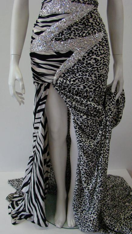 Pierre Balmain Leopard And Zebra Print Silk Evening Gown 4