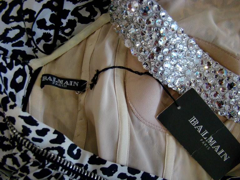 Pierre Balmain Leopard And Zebra Print Silk Evening Gown 10