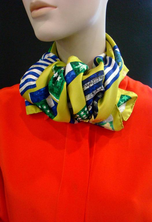 Atelier Versace Flags Printed Silk Scarf For Sale 1
