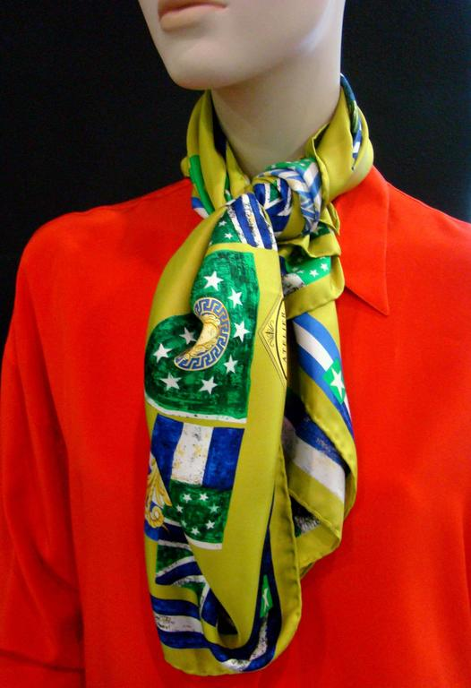 Atelier Versace Flags Printed Silk Scarf For Sale 2