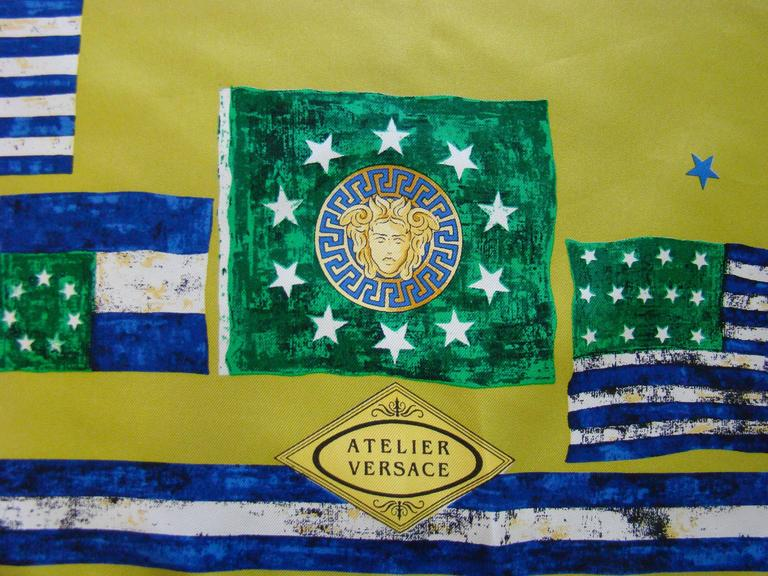 Atelier Versace Flags Printed Silk Scarf For Sale 3