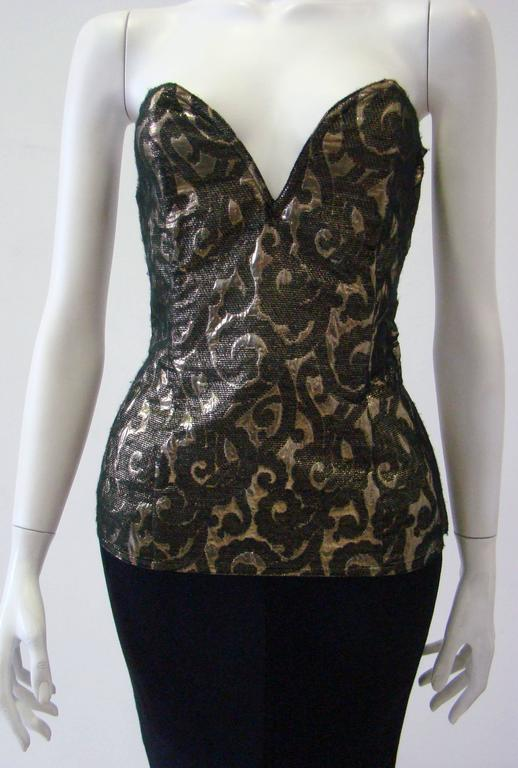 Black Istante By Gianni Versace Bustier Fall 1987 For Sale