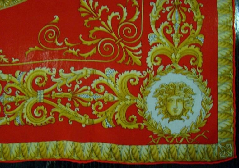Brown Atelier Versace Medusa Print Red Silk Scarf For Sale