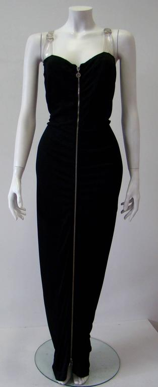 Gianni Versace Versatile bodycon stretch ruched evening dress with plastic detail and zip front and back.