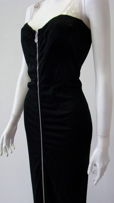 Black Gianni Versace Versatile Bodycon Stretch Ruched Evening Dress For Sale
