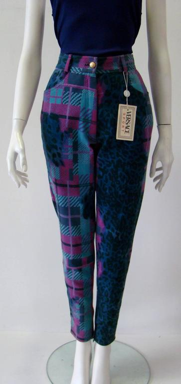 Black Gianni Versace Sport Printed Jeans For Sale