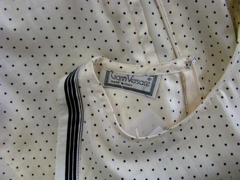 Early Gianni Versace Polka Dot Cotton Top Blouse Spring 1988 6