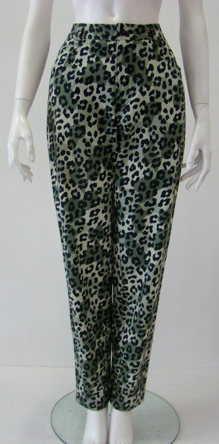 Istante By Gianni Versace Foot Printed Cotton Jeans Pants Fall 1992