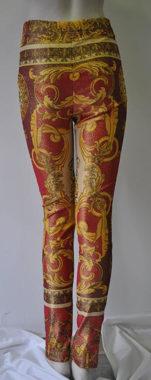 Iconic Gianni Versace Couture Baroque Printed Evening Leggings 2