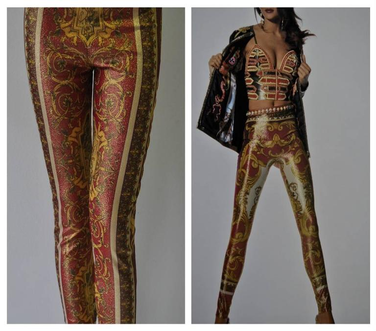 Iconic Gianni Versace Couture Baroque Printed Evening Leggings 3