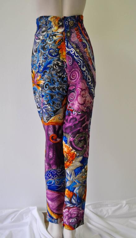 Rare Atelier Versace 100% Silk High Waisted Printed Pants.  Spring 1991 Collection as worn by Jasmine