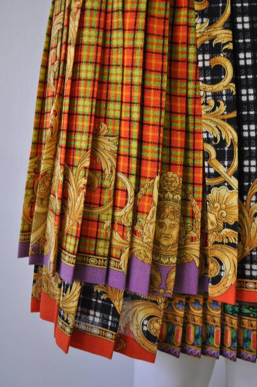 Black Gianni Versace Couture Tartan Pleated Bondage Collection Skirt  For Sale