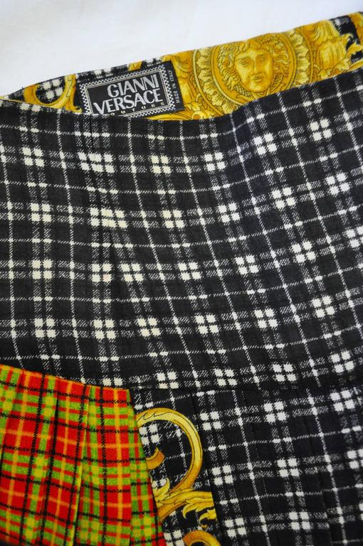 Women's Gianni Versace Couture Tartan Pleated Bondage Collection Skirt  For Sale