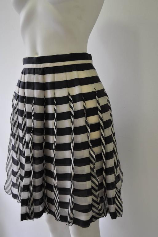 Very Rare Atelier Versace Nautical Vertical Silk Frill over Horizontal Stripe Skirt.  Spring 1993 Haute Couture Collection shown at The Ritz, Paris.