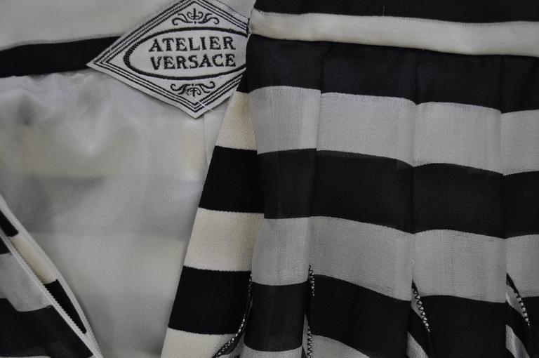 Black Very Rare Atelier Versace Nautical Vertical Silk Frill Horizontal Stripe Skirt For Sale