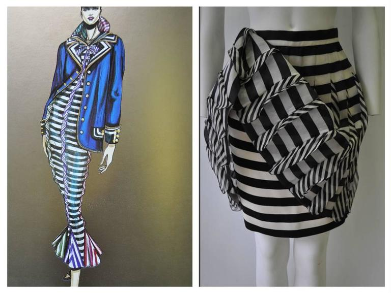 Very Rare Atelier Versace Nautical Vertical Silk Frill Horizontal Stripe Skirt In New Never_worn Condition For Sale In Athens, Agia Paraskevi