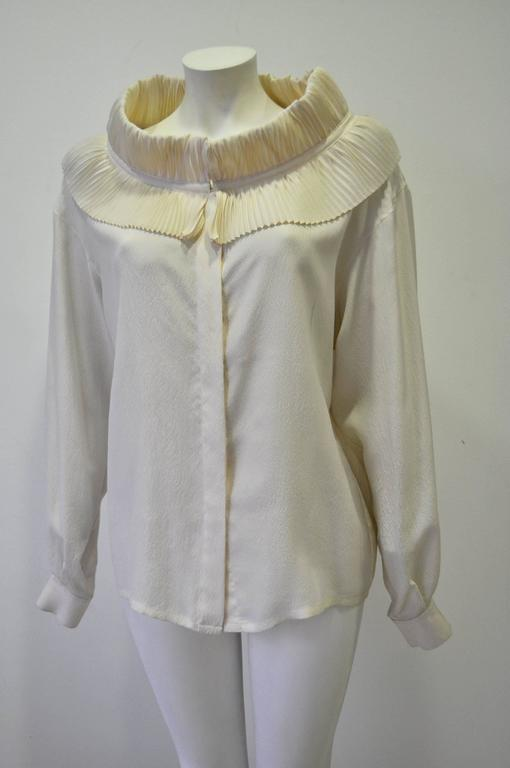 Positively Regal and Rare Claude Montana Ruffle Collar Silk Crepe Blouse