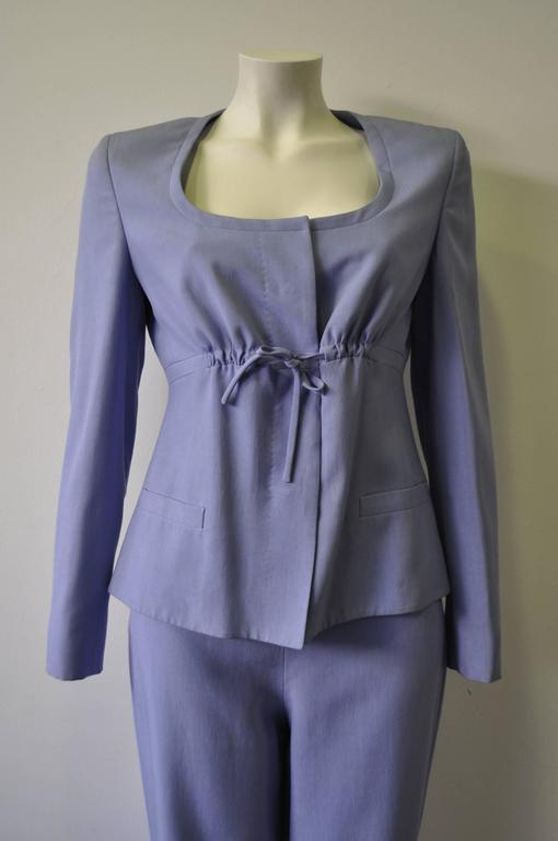 Gianni Versace Couture 100% Silk Drawstring Bust Jacket and Pants Suit