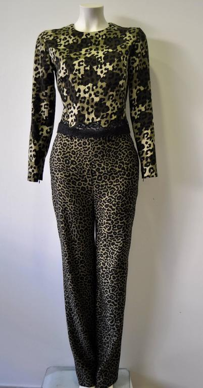 Gianni Versace Istante High Waisted Leopard Print Pants 2