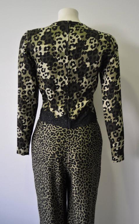 Gianni Versace Istante High Waisted Leopard Print Pants 3