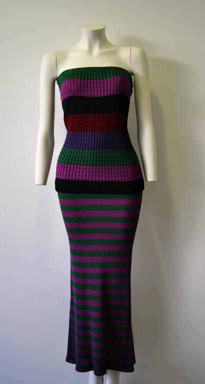 Rare Gianni Versace Couture Striped Knit Strapless Ensemble 2